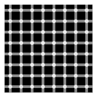 El negro puntea la línea blanca ilusión óptica del póster