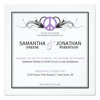 El negro púrpura del signo de la paz remolina el invitación 13,3 cm x 13,3cm
