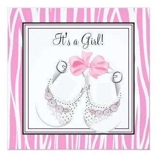 El negro rosado calza la ducha rosada de la niña invitación 13,3 cm x 13,3cm
