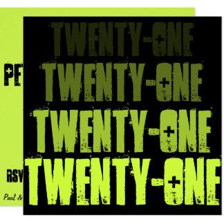 El negro veintiuno del verde @ invita invitación 13,3 cm x 13,3cm