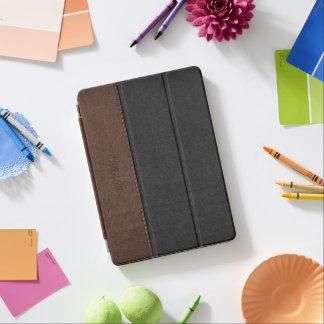 El negro y Brown del vintage cosieron la textura Cover De iPad Air