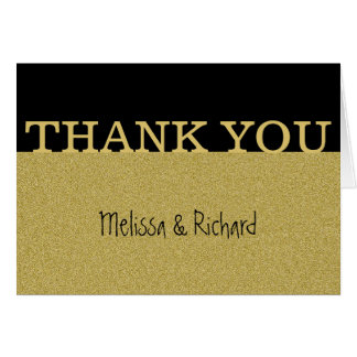 El negro y el boda del brillo del oro le agradecen tarjeta pequeña