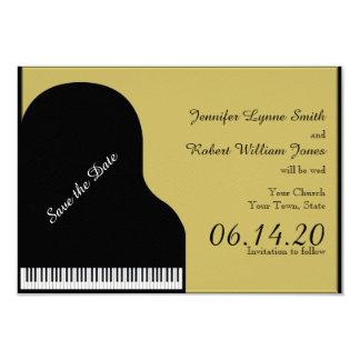 El negro y el boda del piano del oro ahorran la invitación 8,9 x 12,7 cm