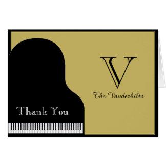 El negro y el boda del piano del oro le agradecen tarjeta pequeña
