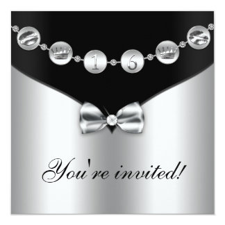 El negro y el dulce arqueado plata dieciséis del invitación 13,3 cm x 13,3cm