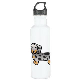 El negro y el moreno Dapple el perro liso del Botella De Agua