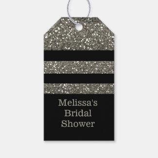 El negro y la ducha nupcial del brillo de la plata etiquetas para regalos