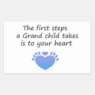 El nieto único de los primeros pasos pegatina rectangular