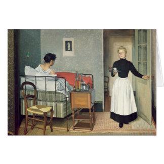 El niño enfermo 1892 tarjeta de felicitación