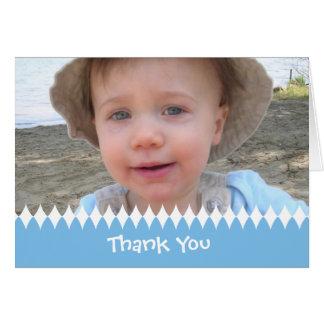 El niño o el bebé le agradece tarjeta de la foto