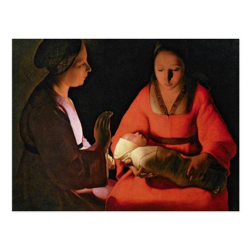 El niño recién nacido, últimos 1640s tarjeta postal
