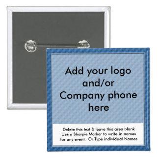 El nombre comercial del acontecimiento azul Badges Chapa Cuadrada 5 Cm