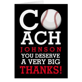 El nombre de encargo del entrenador de béisbol le tarjeta de felicitación