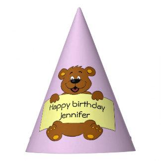 El nombre feliz del chica del cumpleaños del rosa gorro de fiesta