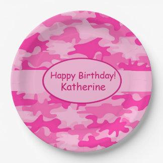 El nombre rosado de Camo personalizó al fiesta del Plato De Papel