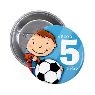 El nombre y la edad 5 del fútbol/del fútbol aboton chapa redonda de 5 cm