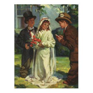 El novio de la novia de niño del boda del vintage postal