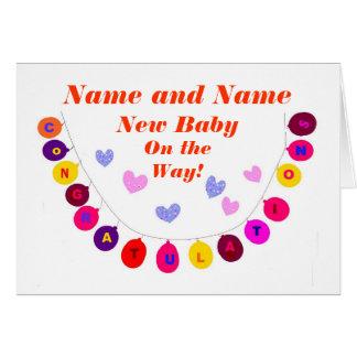El nuevo bebé en la manera, enhorabuena, añade el tarjeta