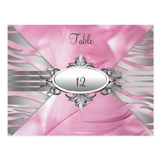 El número de la tabla carda el dulce rosado 16 postal