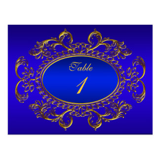 El número de la tabla carda el oro del azul real postal