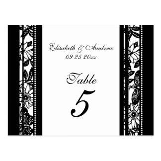 El número de la tabla del boda carda blanco y negr tarjeta postal