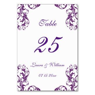 El número de la tabla del boda carda el damasco de