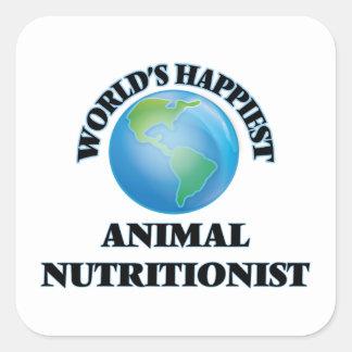 El nutricionista animal más feliz del mundo pegatina cuadrada