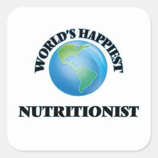 El nutricionista más feliz del mundo pegatina cuadrada