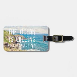 El océano está llamando - etiqueta del equipaje de