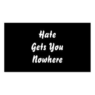 El odio le consigue en ninguna parte. Diseño blanc Tarjetas De Negocios