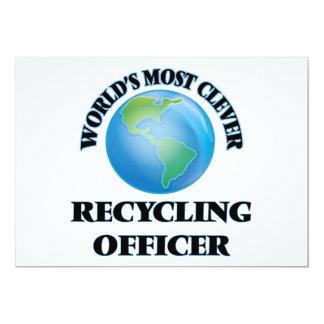 El oficial de reciclaje más listo del mundo invitación 12,7 x 17,8 cm