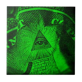 El ojo de Illuminati Azulejo Cuadrado Pequeño