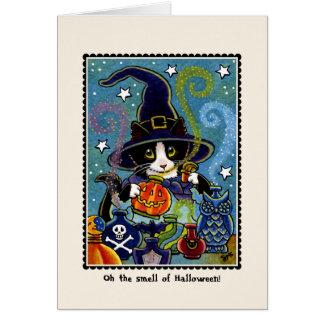 ¡El olor de Halloween! Tarjeta del gato del gatito