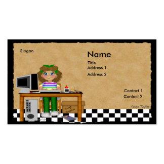 El ordenador hace la tarjeta de visita a mano