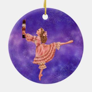 El ornamento del ballet del cascanueces adorno navideño redondo de cerámica