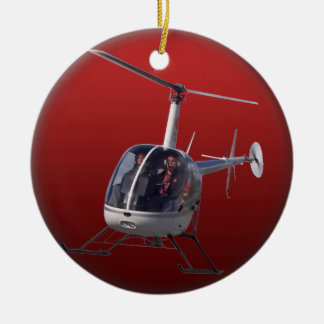 El ornamento del helicóptero personaliza la adorno navideño redondo de cerámica