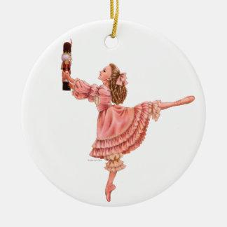 El ornamento redondo del ballet del cascanueces adorno navideño redondo de cerámica