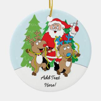 El ornamento Santa del navidad y el reno Adorno Navideño Redondo De Cerámica