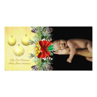 El oro adorna mi 1ra tarjeta de la foto del bebé tarjeta personal con foto