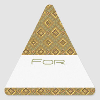 El oro adornado y los diamantes verdes modelaron calcomanía de triangulo personalizadas