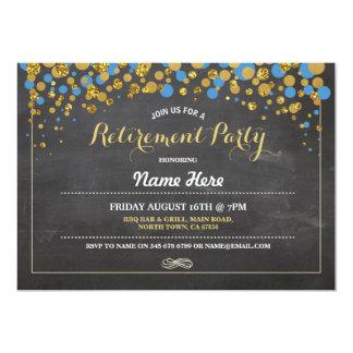 El oro azul de la tiza del fiesta de retiro invitación 12,7 x 17,8 cm