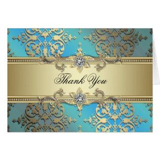 El oro azul verde azulado le agradece las tarjetas