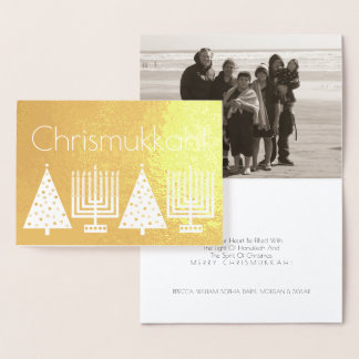 El oro Chrismukkah del día de fiesta añade su foto Tarjeta Con Relieve Metalizado