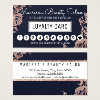 El oro color de rosa florece el sacador del tarjeta de negocios