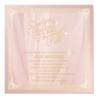 El oro color de rosa y se ruboriza las invitación 13,3 cm x 13,3cm