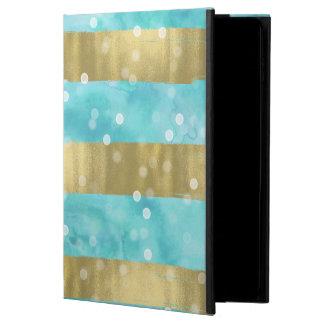 El oro de la acuarela de la aguamarina raya Bokeh Funda Para iPad Air 2