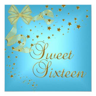 El oro de la fiesta de cumpleaños 16 del dulce invitación 13,3 cm x 13,3cm