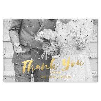El oro de la foto del boda le agradece papel seda