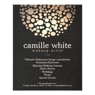 El oro del artista de maquillaje circunda el menú folleto 11,4 x 14,2 cm