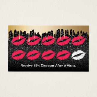 El oro del artista de maquillaje gotea lealtad tarjeta de negocios